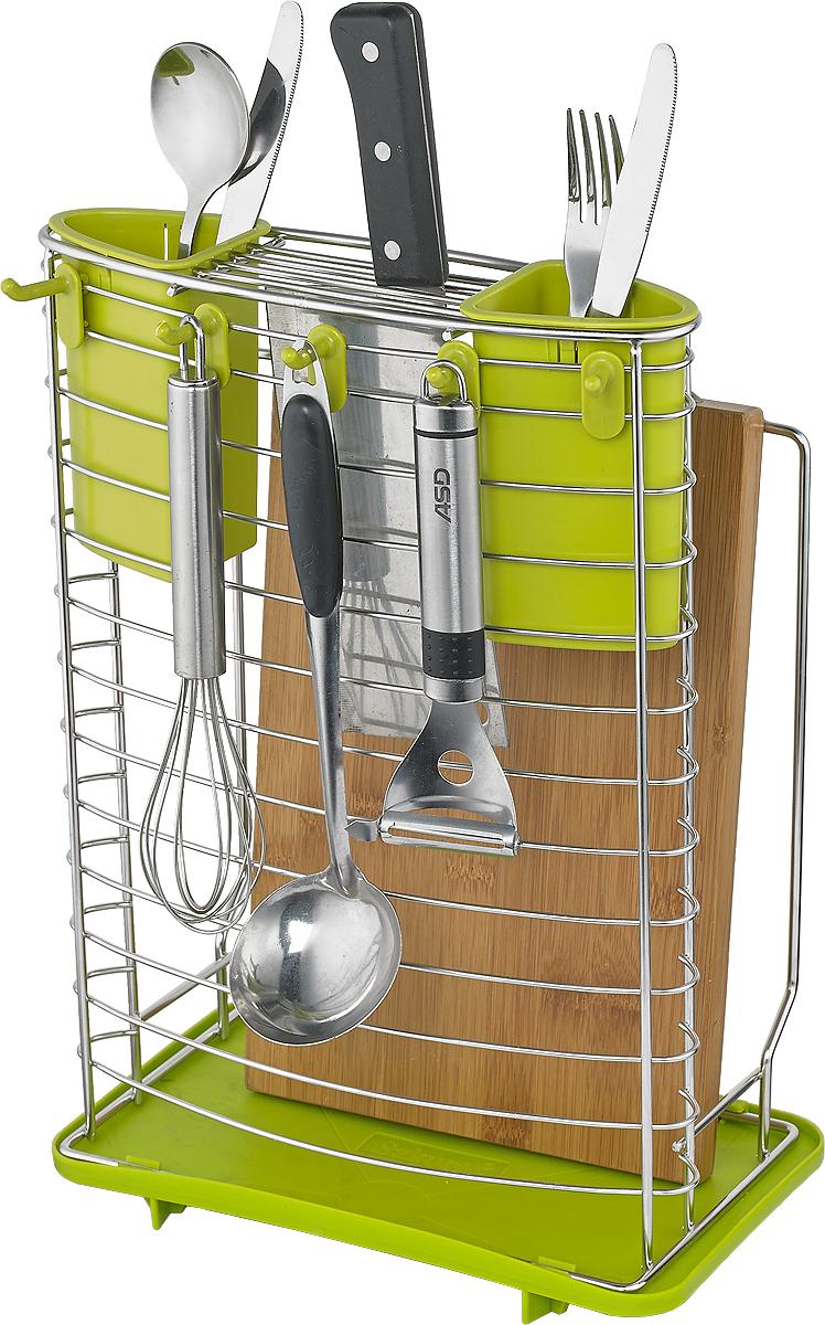 Сушилка для посуды Travola. AQ-1343AAQ-1343AСушилка для посуды Travola изготовлена из стали и пластика. Она представляет собой решетку с ячейками для посуды, состоящую из стаканов и крючков для столовых приборов. Изделие оснащено пластиковым поддоном для стекания воды. На такой сушилке вы сможете разместить разделочную доску, тарелки и множество столовых приборов.