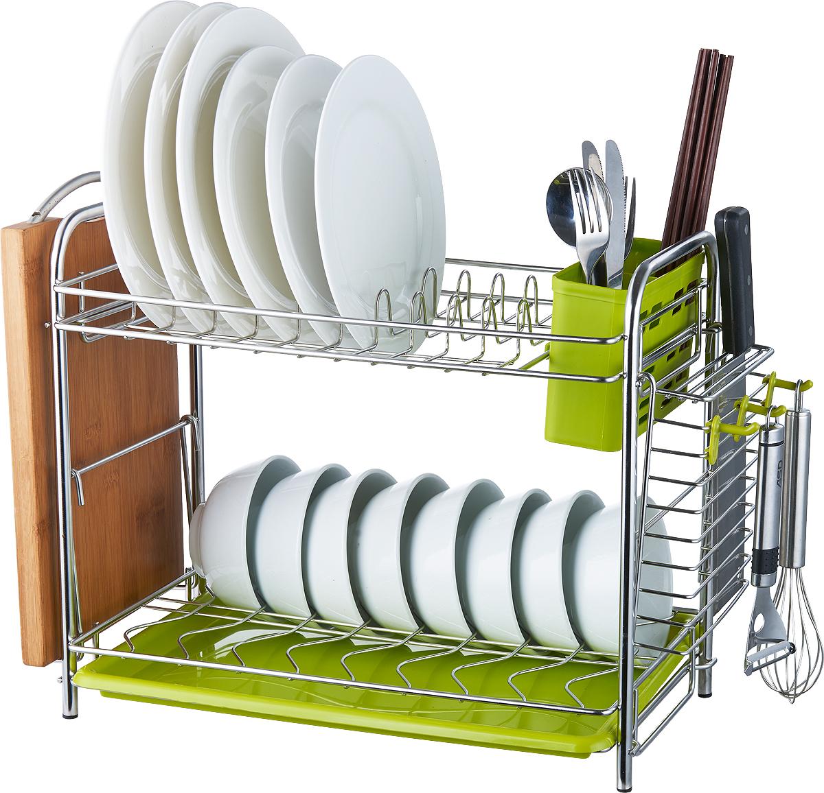 Сушилка для посуды Travola, двухъярусная. DQ-6154A2DQ-6154A2Двухъярусная сушилка для посуды Travola изготовлена из стали и пластика. Она представляет собой сочетание решеток, подставок и крючков для кухонных приборов. Изделие оснащено пластиковым поддоном для стекания воды. На такой сушилке вы сможете разместить большое количество предметов.