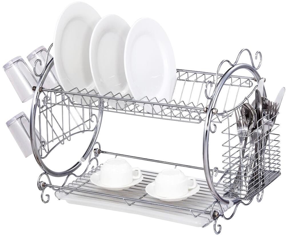 Сушилка для посуды Travola, двухъярусная. DS-6106A2DS-6106A2Двухъярусная сушилка для посуды Travola, изготовленная из стали и пластика, представляет собой решетку с ячейками для посуды и подставки для столовых приборов. Изделие оснащено пластиковым поддоном для стекания воды. На такой сушилке вы сможете разместить большое количество предметов. Размеры поддона: 38 см