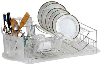 """Сушилка для посуды """"Travola"""" изготовлена из стали и пластика. Она представляет собой решетку с ячейками для посуды и подставок для  кухонных приборов. Изделие оснащено пластиковым поддоном для стекания воды. На такой сушилке вы сможете разместить большое  количество предметов."""