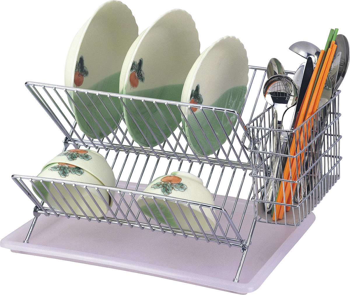 Сушилка для посуды Travola, двухъяруснаяAE-561Двухъярусная сушилка для посуды Travola, изготовленная из стали и пластика, представляет собой решетку с ячейками для посуды и подставки для столовых приборов. Изделие оснащено пластиковым поддоном для стекания воды. На такой сушилке вы сможете разместить большое количество предметов. Размеры поддона: 40 х 28 х 2 смРазмеры подставки для приборов: 16 х 16 х 3 см