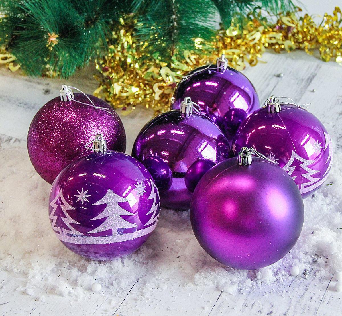 Набор новогодних подвесных украшений Sima-land Высокие елочки, цвет: фиолетовый, диаметр 10 см, 6 шт2178438