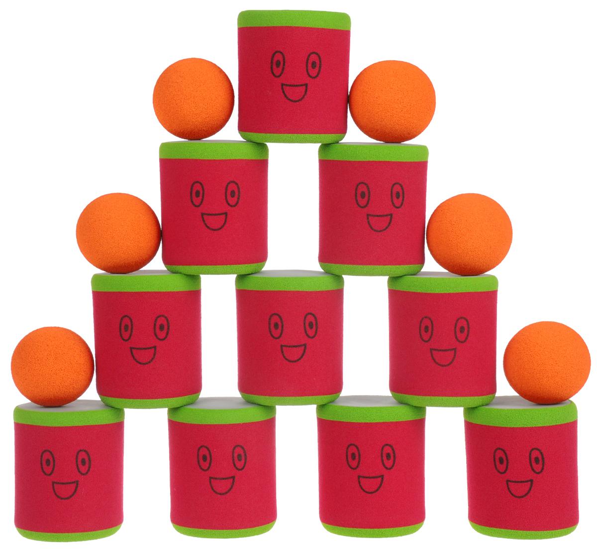 Safsof Игровой набор Городки цвет красный зеленый оранжевый городки