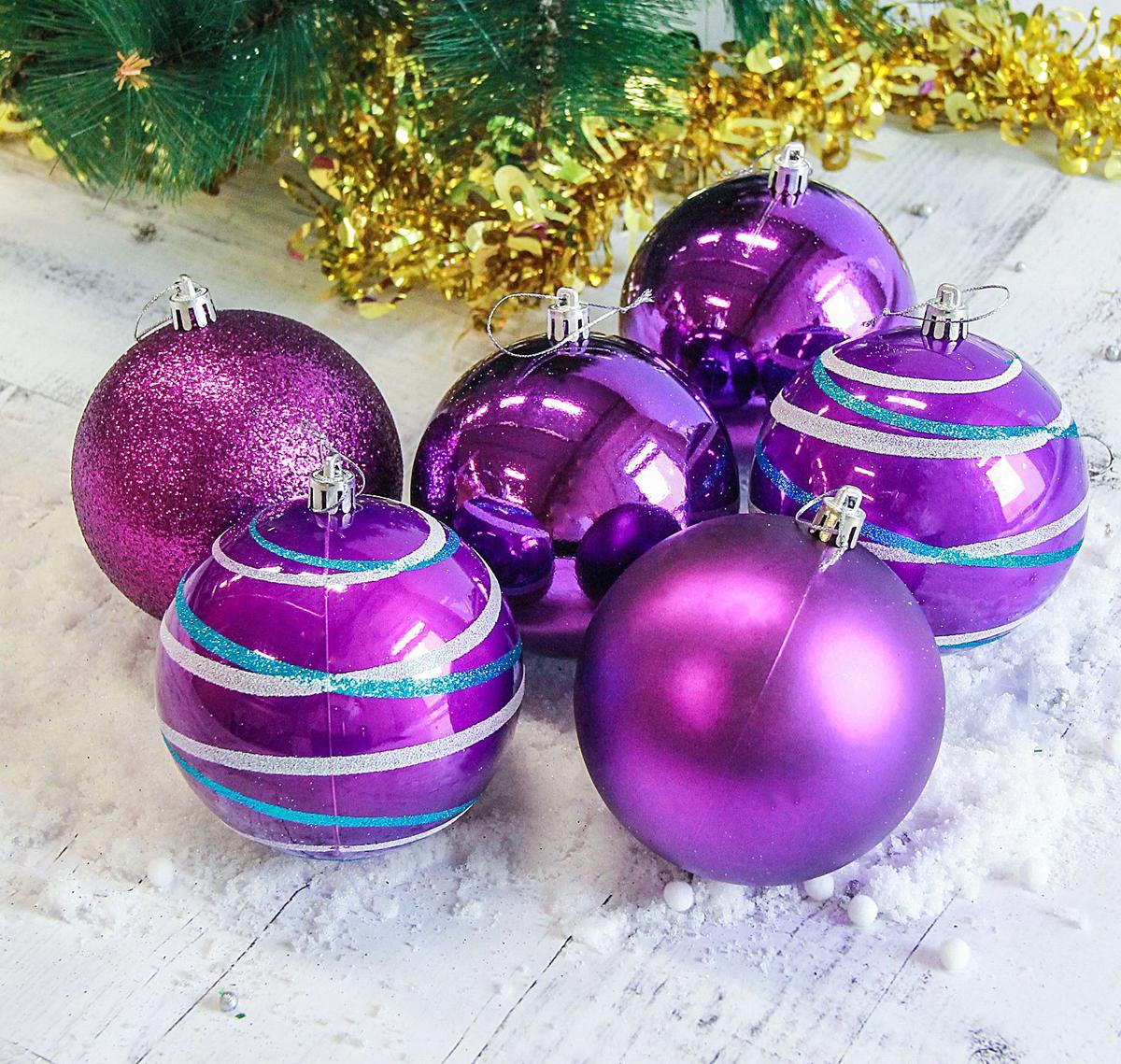 Набор новогодних подвесных украшений Sima-land Орион, цвет: фиолетовый, диаметр 10 см, 6 шт2178437