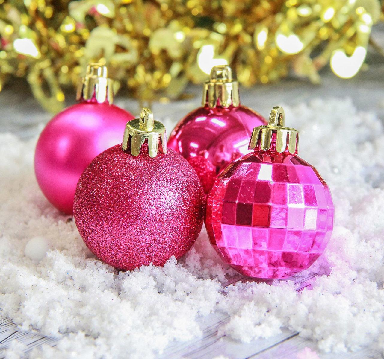 """Набор новогодних подвесных украшений Sima-land """"Колокольчик"""", цвет: розовый, диаметр 4 см, 25 шт"""