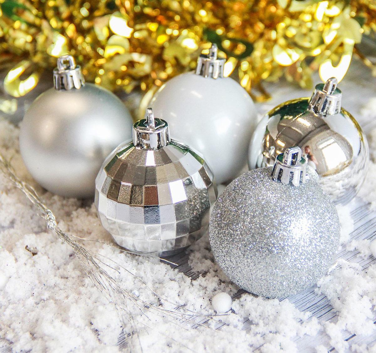 Набор новогодних подвесных украшений Sima-land Звезда, цвет: серебристый, диаметр 5 см, 20 шт