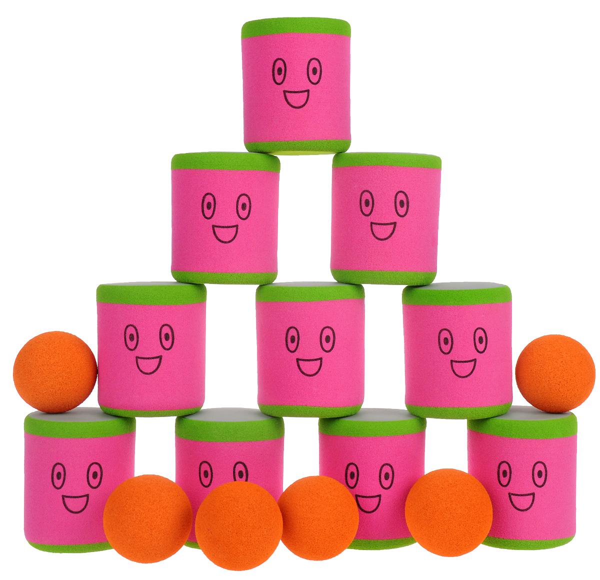 Safsof Игровой набор Городки цвет розовый зеленый оранжевый городки