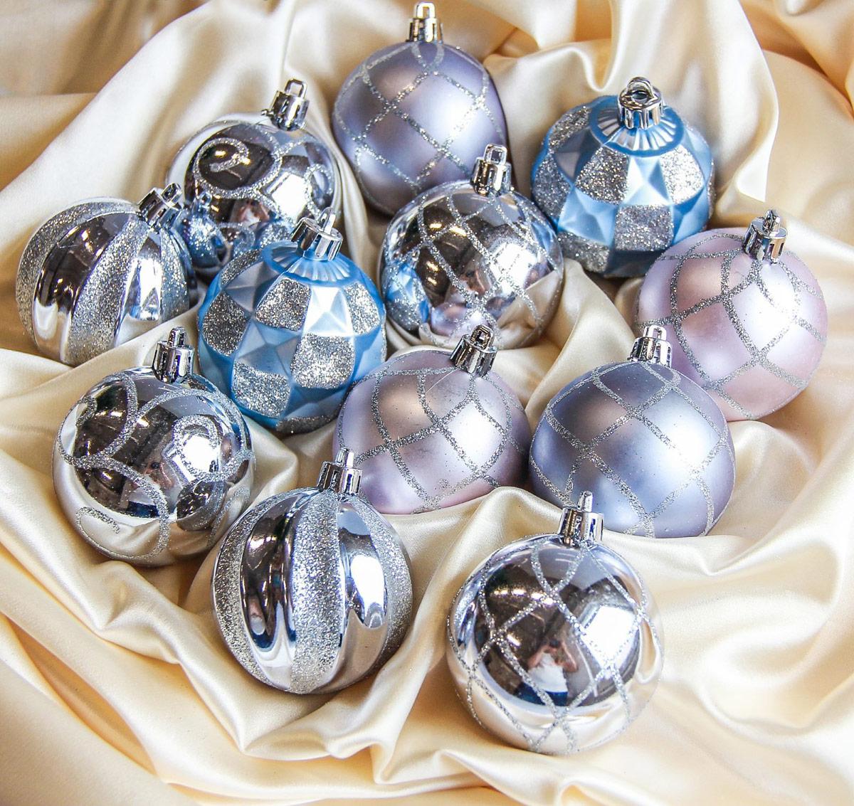 Набор новогодних подвесных украшений Sima-land Ассорти узорное, диаметр 6 см, 12 шт2187033