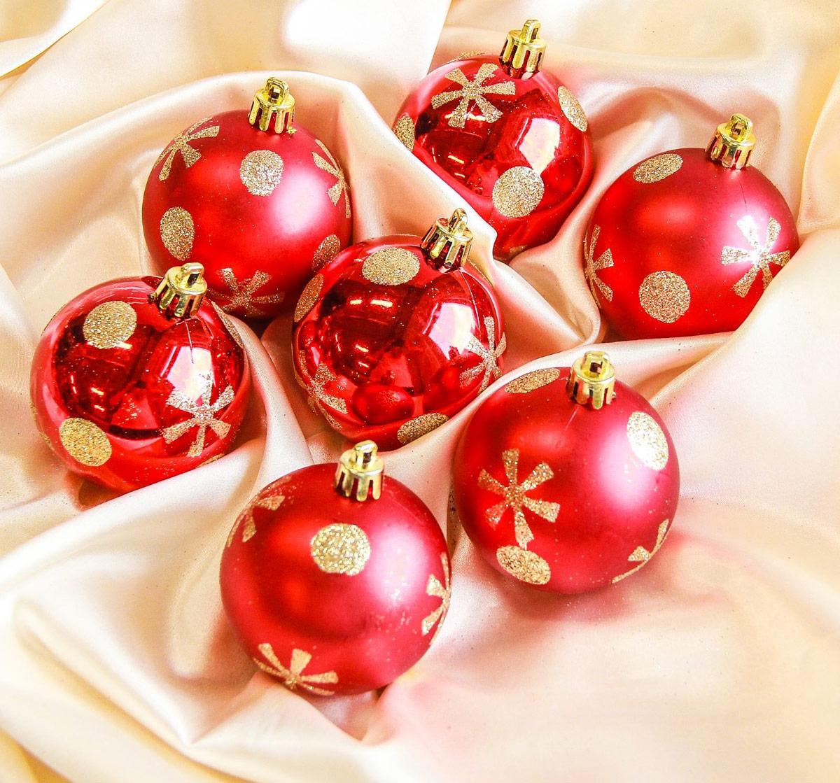 Набор новогодних подвесных украшений Sima-land Горох, цвет: красный, диаметр 6 см, 12 шт2187016