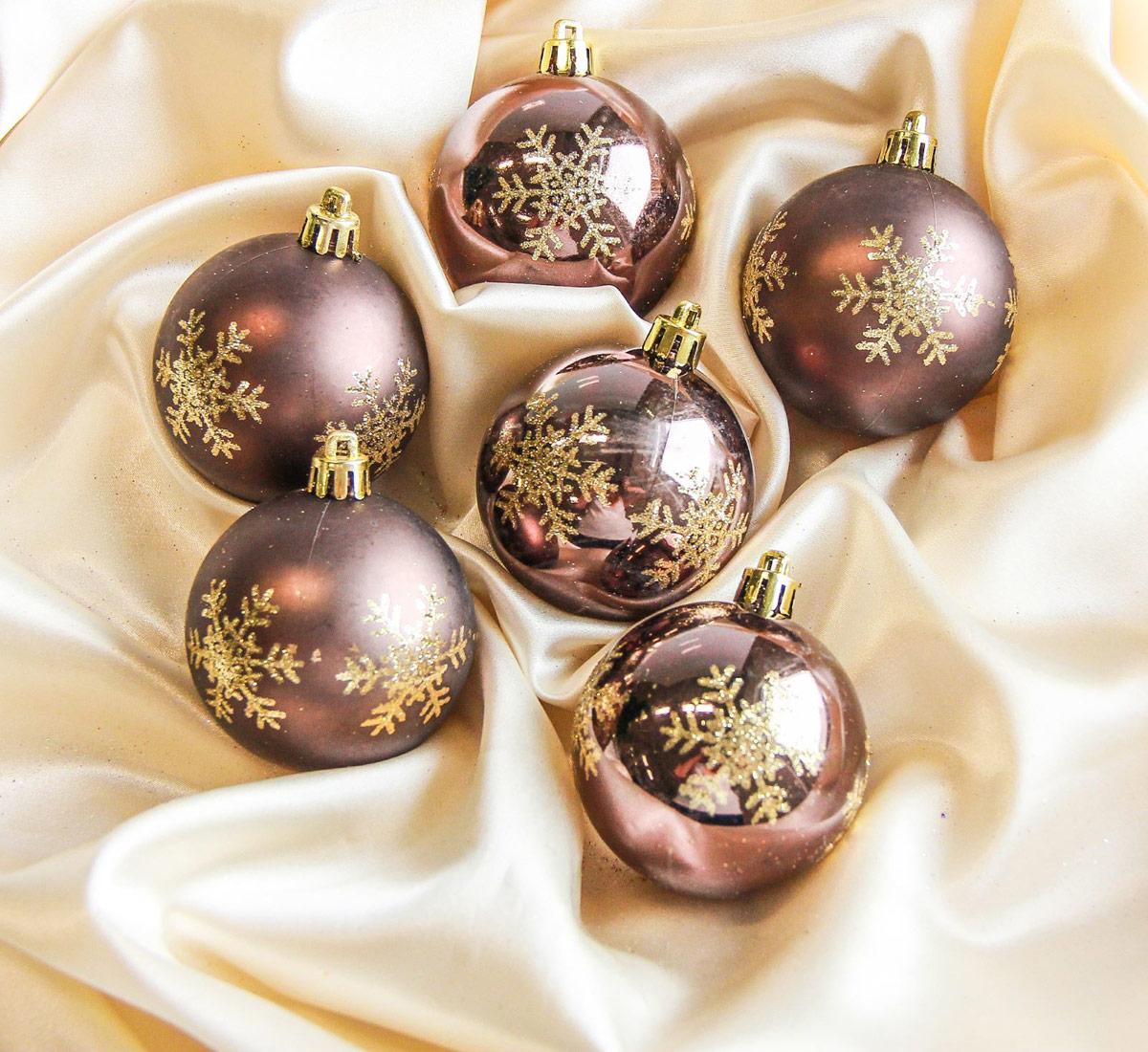 Набор новогодних подвесных украшений Sima-land Снежинка, цвет: шоколадный, диаметр 6 см, 12 шт2187017