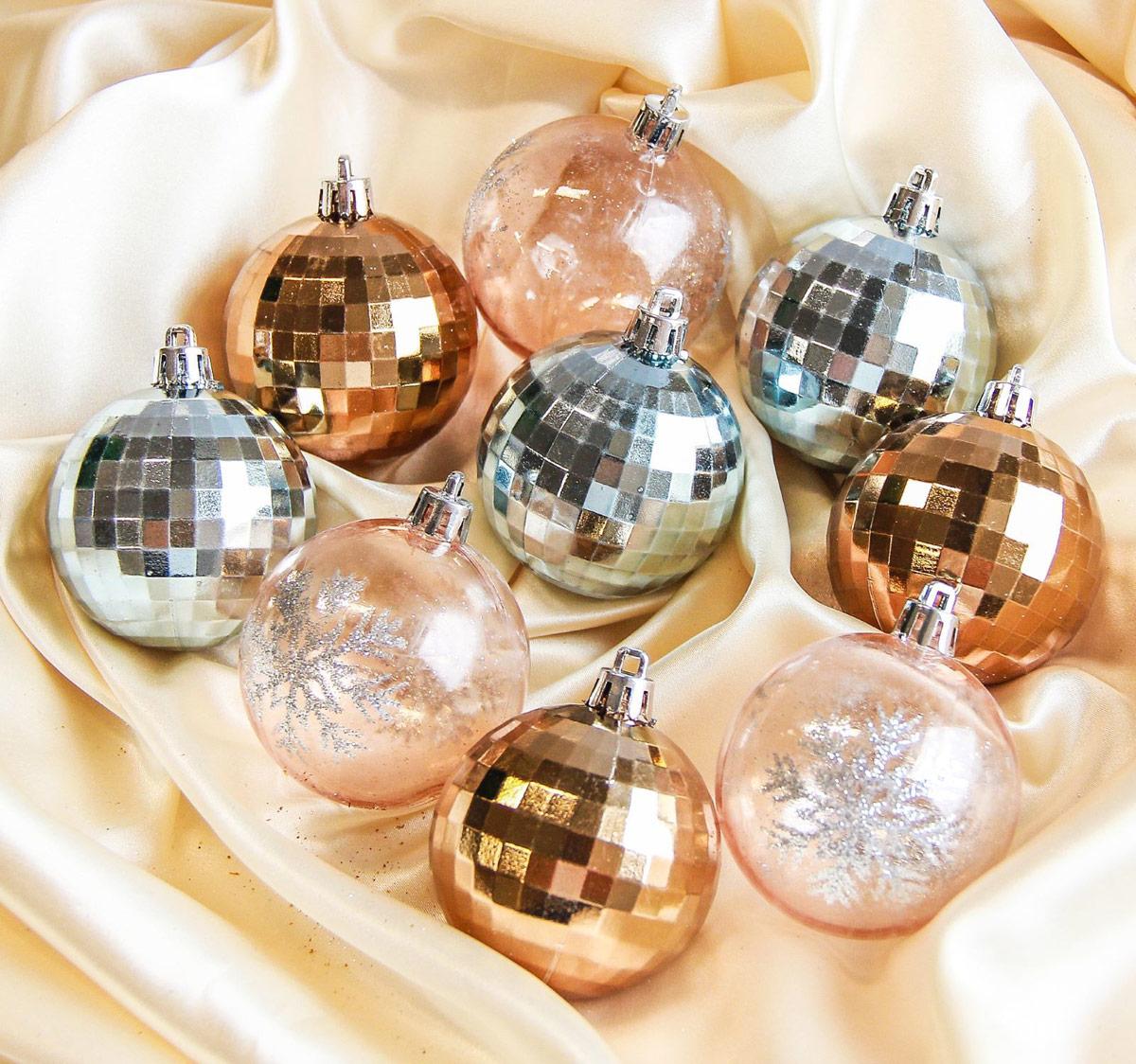 Набор новогодних подвесных украшений Sima-land Диско, цвет: золотой, серебристый, диаметр 6 см, 9 шт2187022