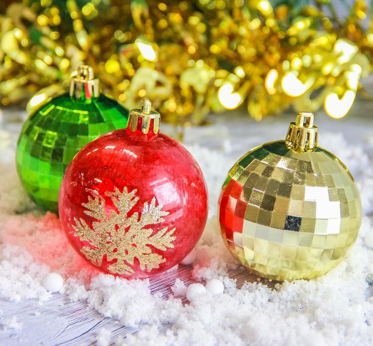 Набор новогодних подвесных украшений Sima-land Диско, цвет: мультиколор, диаметр 6 см, 9 шт2187023