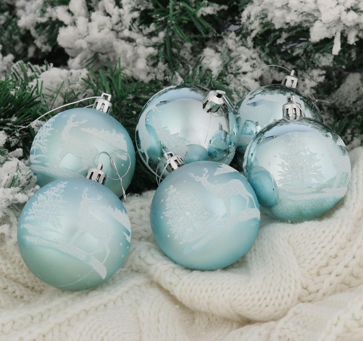 Набор новогодних подвесных украшений Sima-land Гордый олень, цвет: голубой, диаметр 7 см, 6 шт2122938