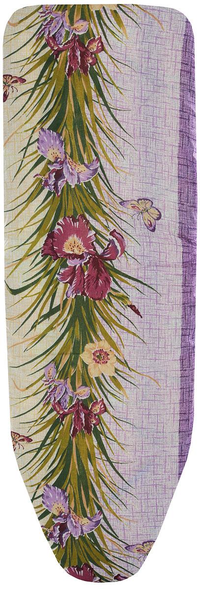 Чехол для гладильной доски Eva, цвет: фиолетовый, зеленый, 129 х 45 см чехол для головных уборов eva цвет коричневый 33 х 33 х 20 см