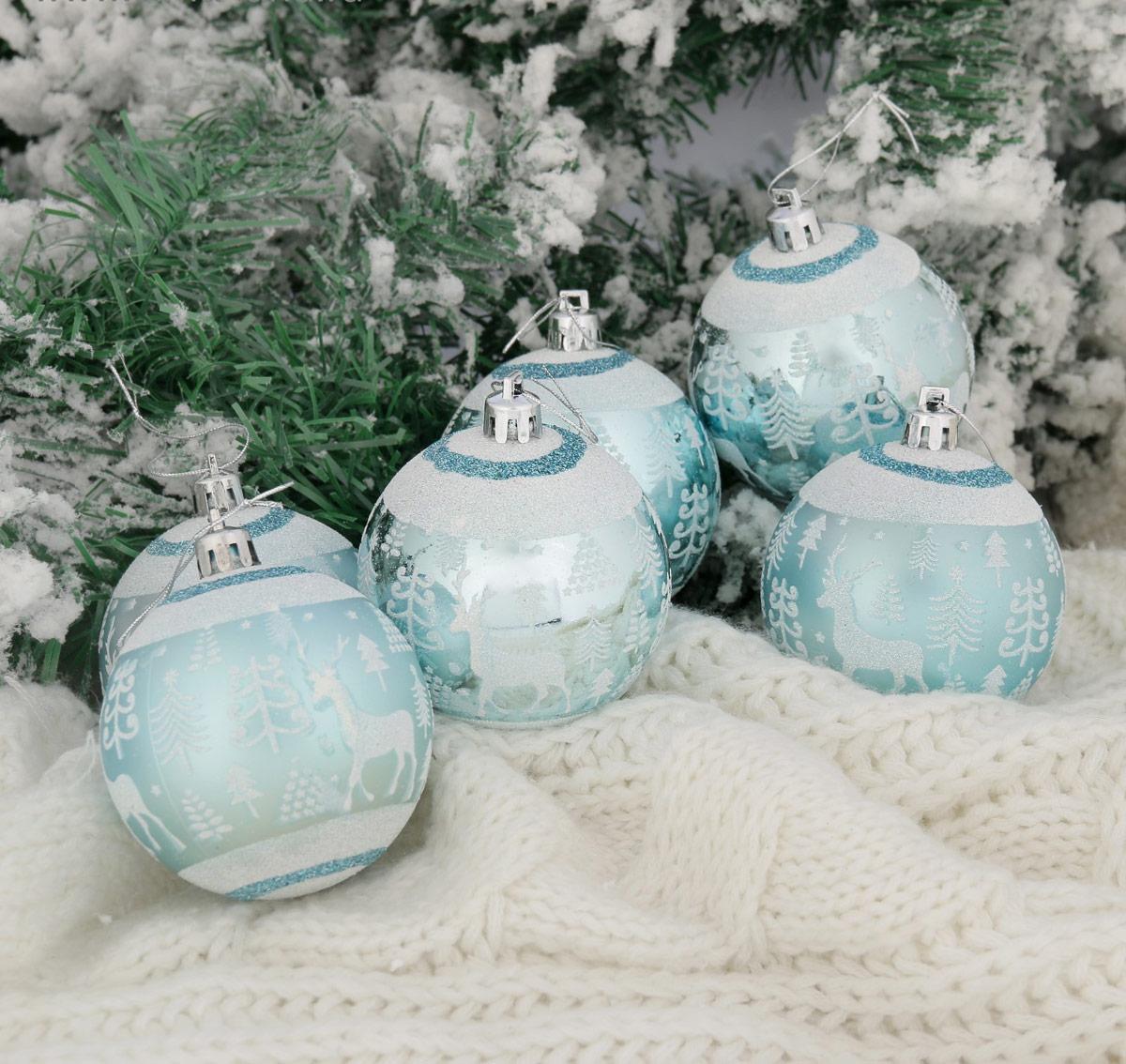 Набор новогодних подвесных украшений Sima-land Скандинавия, цвет: бирюзовый, диаметр 7 см, 6 шт2122939