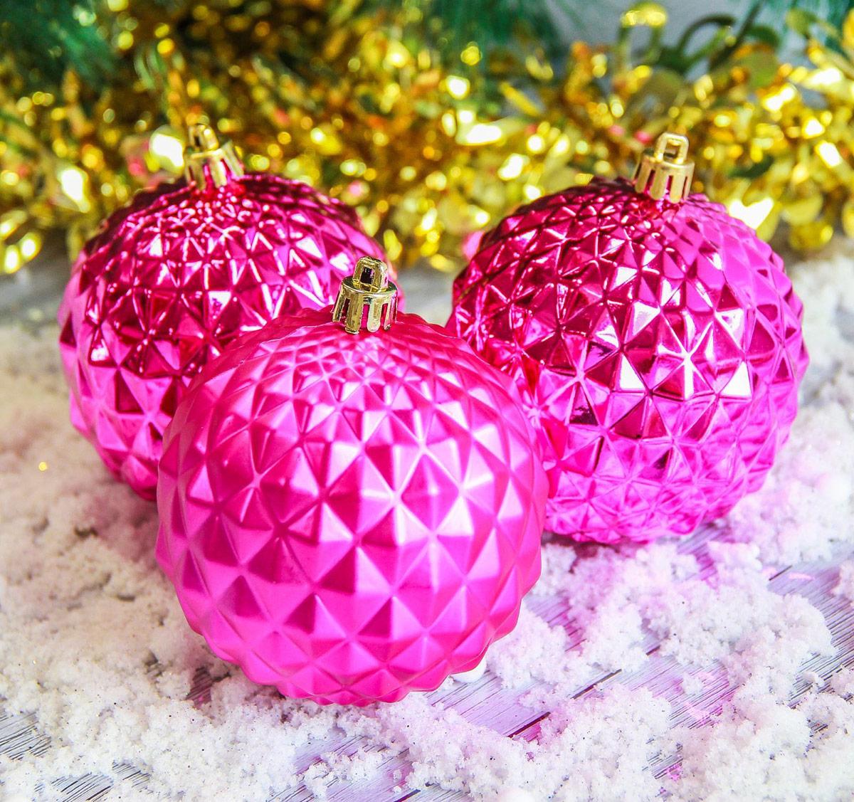 Набор новогодних подвесных украшений Sima-land Рельеф, цвет: розовый, диаметр 8 см, 3 шт2187020
