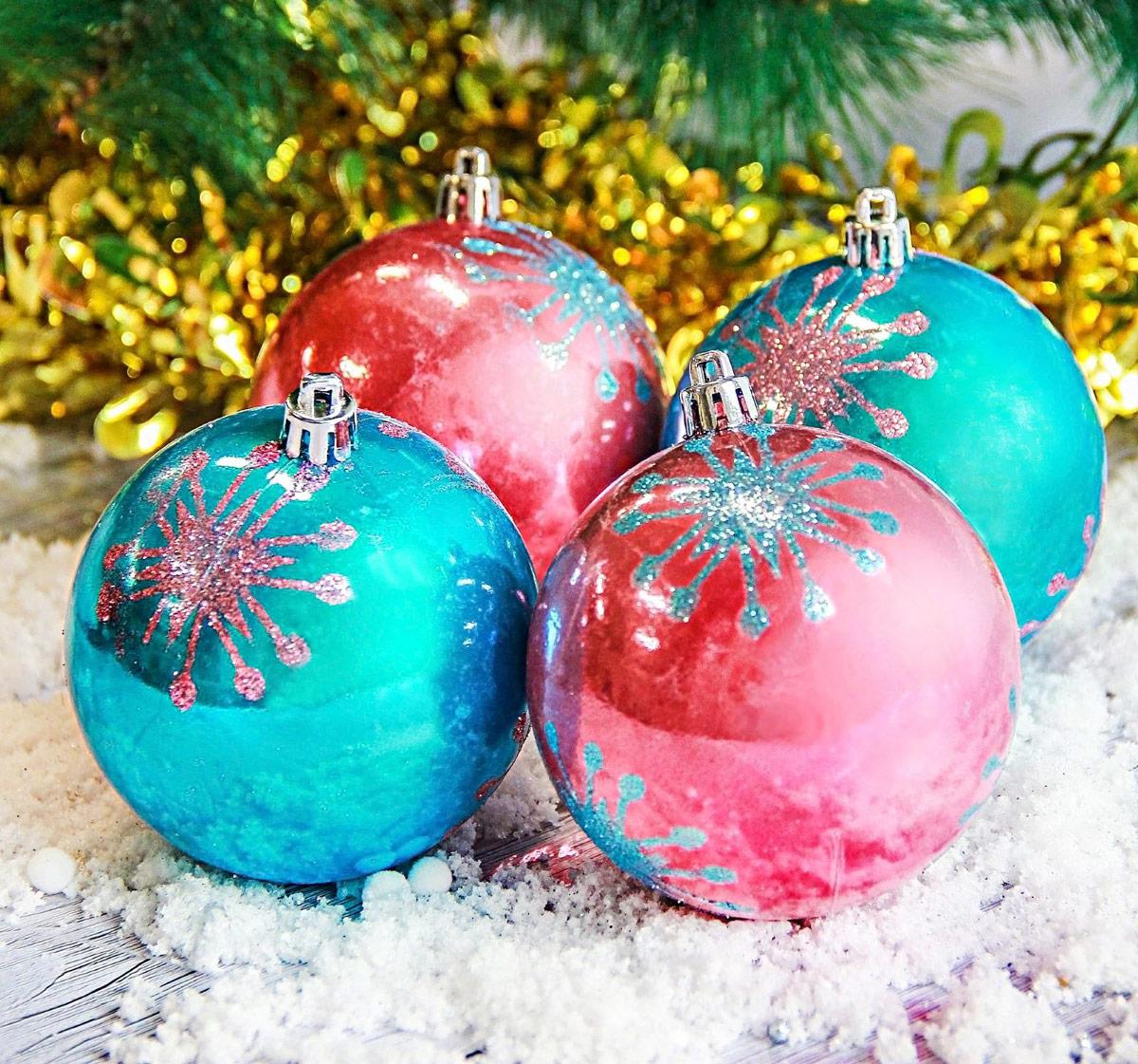 Набор новогодних подвесных украшений Sima-land Звезды, цвет: голубой, розовый, диаметр 8 см, 4 шт2187028