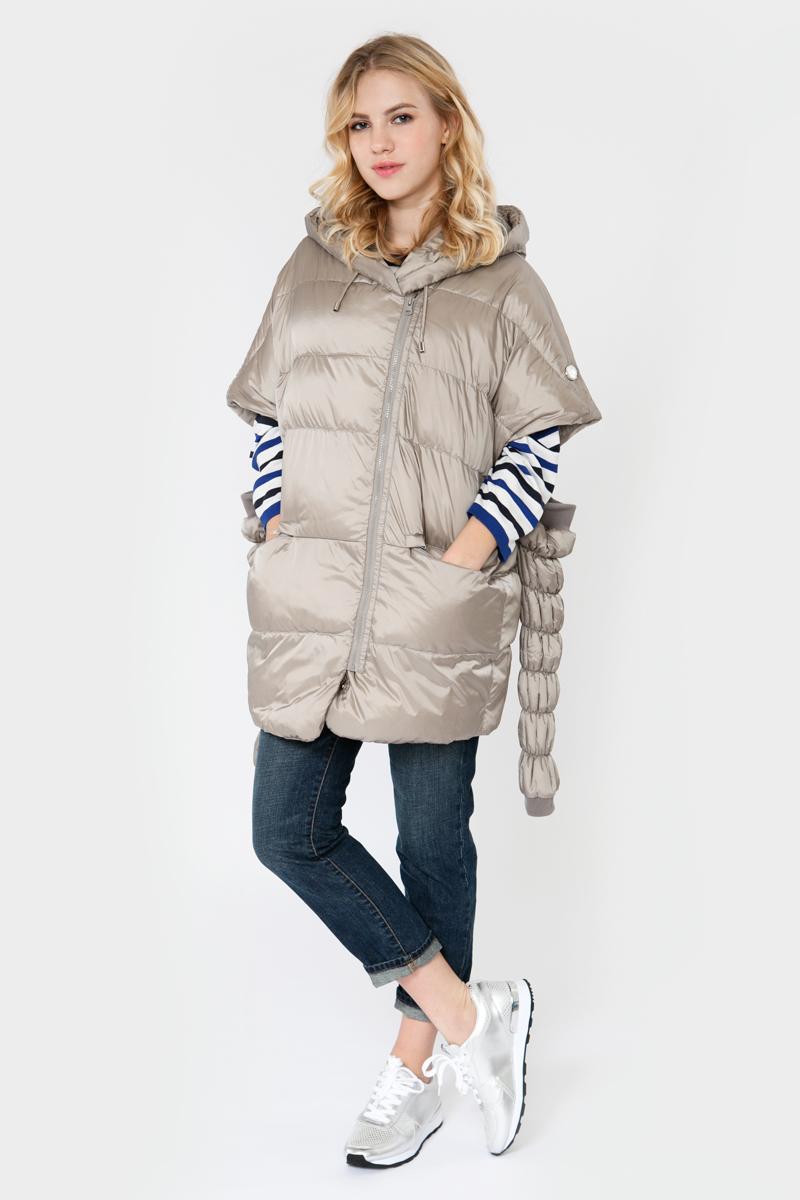 Куртка женская Elfina, цвет: бежевый. 16149_42. Размер L (48)16149_42Стильная женская куртка выполнена из 100% полиэстера. В качестве утеплителя используется синтепон. Модель с капюшоном застегивается на молнию, рукава съемные. Изделие дополнено двумя втачными карманами на застежках-молниях.