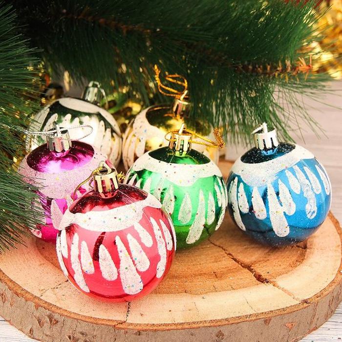 Украшение новогоднее подвесное Sima-land Белые капли, диаметр 5,5 см, 6 шт2377854