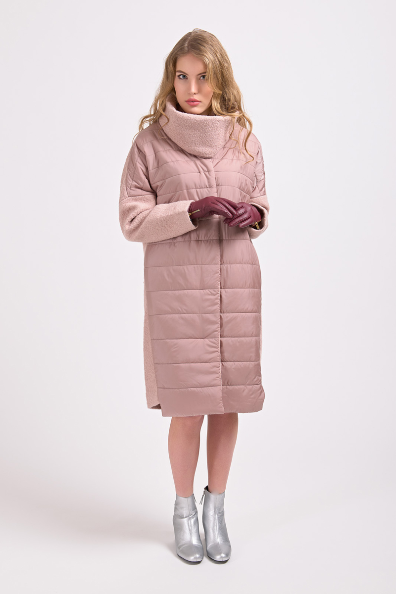 Куртка женская Elfina, цвет: розовый. 18010_3534. Размер 5218010_3534Длинная женская куртка выполнена из комбинированного материала на подкладке из полиэстера. В качестве утеплителя используется синтепон. Модель застегивается на кнопки, скрытые планкой.
