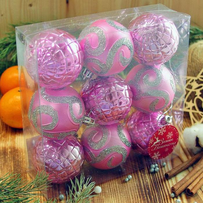 Украшение новогоднее подвесное Sima-land Вдохновение, цвет: розовый, диаметр 5,5 см, 9 шт2372191