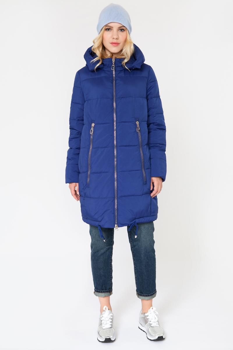 Куртка женская Elfina, цвет: синий. 16624_E6. Размер S (44)16624_E6Утепленная женская куртка выполнена из непромокаемого полиэстера. В качестве утеплителя используется искусственный пух. Модель с капюшоном застегивается на застежку-молнию. Изделие дополнено двумя втачными карманами.