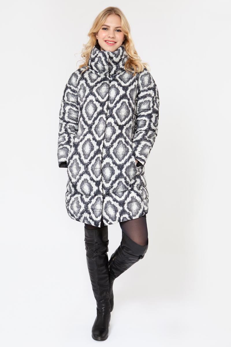 Куртка женская Elfina, цвет: черный, белый. 15151_2. Размер 5015151_2Утепленная женская куртка выполнена из непромокаемого полиэстера. В качестве утеплителя используется синтепон. Модель без капюшона застегивается на застежку-молнию. Изделие дополнено двумя втачными карманами.