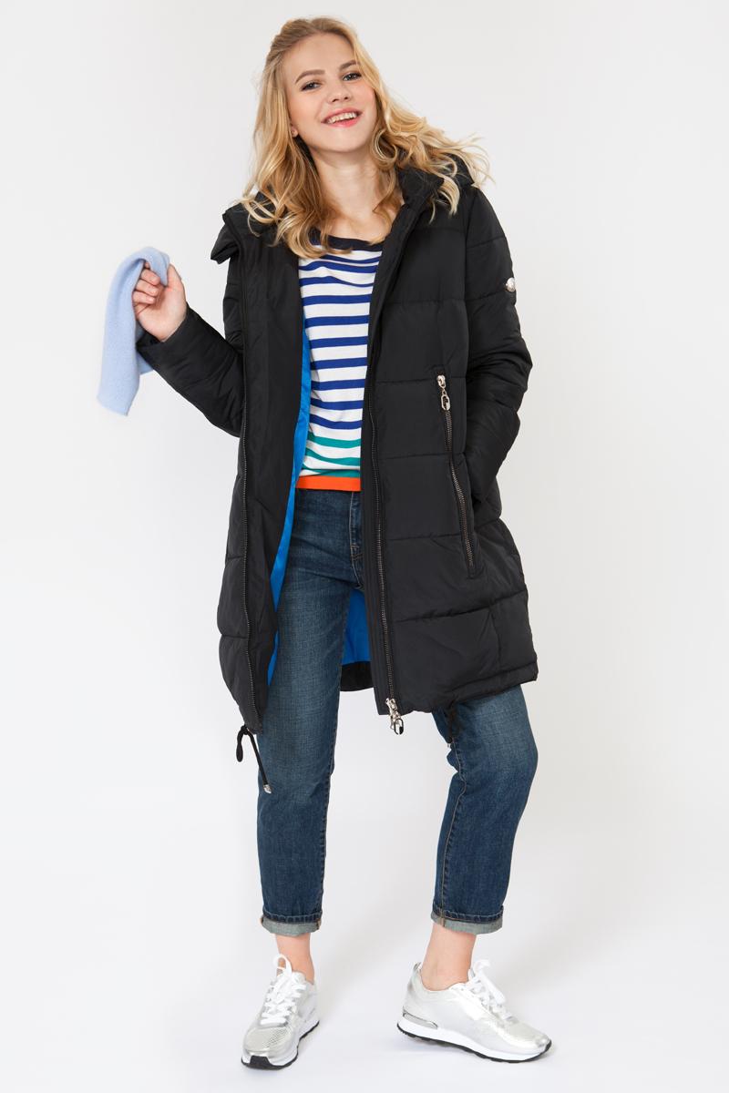 Куртка женская Elfina, цвет: черный. 16624_E1. Размер S (44)16624_E1Утепленная женская куртка выполнена из непромокаемого полиэстера. В качестве утеплителя используется искусственный пух. Модель с капюшоном застегивается на застежку-молнию. Изделие дополнено двумя втачными карманами.