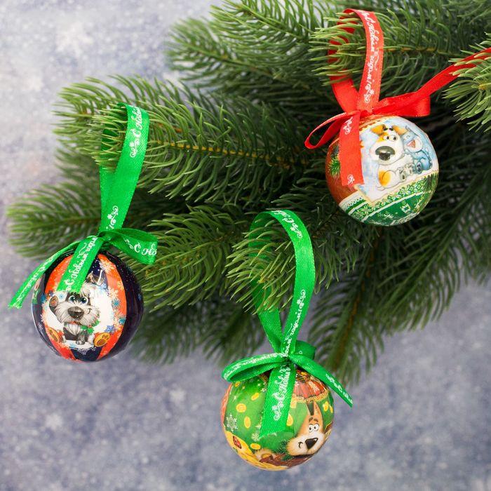 Украшение новогоднее подвесное Sima-land Богатого, веселого Нового года, диаметр 5 см, 3 шт1961209