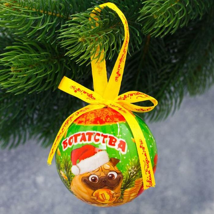 Украшение новогоднее подвесное Sima-land Богатства и удачи, диаметр8 см1961216Этот шар станет волшебным украшением праздничной ёлочки. Украшение выполнено из бумаги и пенопласта, поэтому не разобьётся, даже если упадёт на пол.Шар декорирован бантиком и упакован подарочную коробочку.