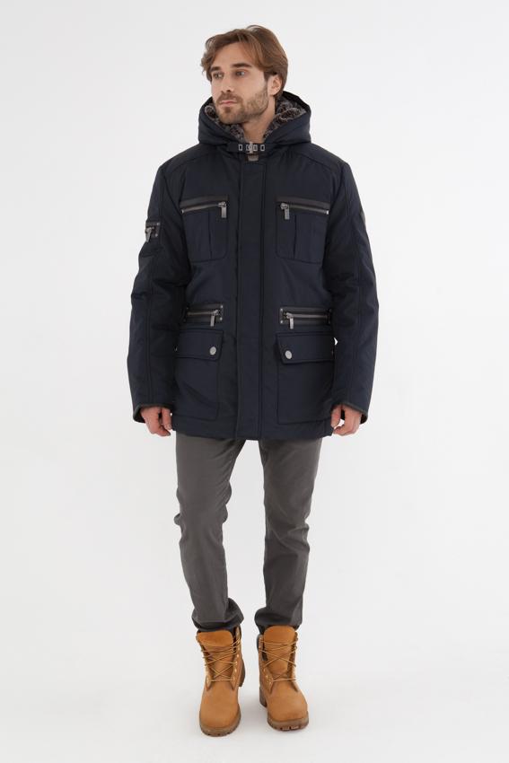 Куртка мужская Vizani, цвет: синий. 2825С_99/BLUE GRAPHITE. Размер 542825С_99/BLUE GRAPHITEЗимняя мужская куртка Vizani изготовлена из высококачественного нейлона. Подкладка выполнена из полиэстера, а в качестве утеплителя используется синтепон. Модель с несъемным капюшон застегивается на молнию и ветрозащитную планку на кнопках. Капюшон утеплен мягким искусственным мехом. Куртка дополнена многофункциональными карманами - 8 внешних и 3 внутренних кармана. Отделка из экокожи придает изделию индивидуальность. Эта куртка - прекрасный вариант для города, поездок на машине и для прогулок.