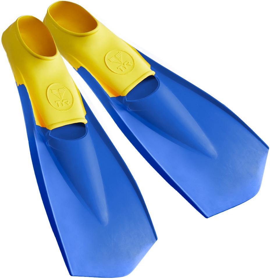 Ласты TYR Flexfins, цвет: желтый, синий. Размер XS (36/37). LFNLFNЛасты TYR являются незаменимым аксессуаром для тренировки. Ласты изготовлены из высококачественной резины, которая не натирает кожу и прекрасно растягивается. Специальный узор на поверхности подошвы позволяет получить надежное сцепление с поверхностью бассейна. Ласты предназначены для создания большей опоры о воду и создания более мощной движущей силы. Ласты такого типа позволяют новичкам более эффективно освоить технику работы ног в спортивном плавании, также они подойдут любителям подводного плавания для увеличения скорости продвижения под водой.