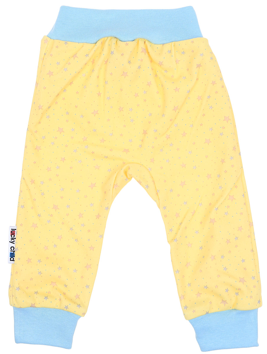 Штанишки детские Luky Child, цвет: желтый. А1-111. Размер 56/62А1-111Удобные штанишки Lucky Child на широком поясе послужат идеальным дополнением к гардеробу вашего малыша. Штанишки, изготовленные из натурального хлопка, необычайно мягкие и легкие, не раздражают нежную кожу ребенка и хорошо вентилируются, а эластичные швы приятны телу младенца и не препятствуют его движениям. Благодаря мягкому эластичному поясу изделие не сдавливает животик ребенка и не сползает, обеспечивая ему наибольший комфорт, идеально подходит для ношения с подгузником и без него. Снизу брючины дополнены широкими трикотажными манжетами, не пережимающими ножку. Модель оформлена оригинальным принтом. Штанишки очень удобный и практичный вид одежды для малышей, которые уже немного подросли. Отлично сочетаются с футболками, кофточками и боди. В таких штанишках вашему малышу будет уютно и комфортно!