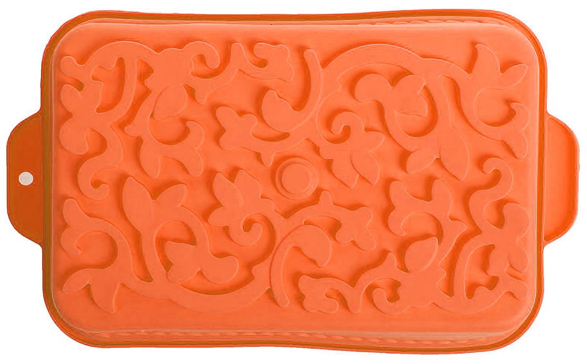 Форма для выпечки Доляна Ажур, цвет: оранжевый, 34 х 19 х 6,5 см1687524_оранжевыйФорма для выпечки из силикона — современное решение для практичных и радушных хозяек. Оригинальный предмет позволяет готовить в духовке любимые блюда из мяса, рыбы, птицы и овощей, а также вкуснейшую выпечку.Почему это изделие должно быть на кухне?блюдо сохраняет нужную форму и легко отделяется от стенок после приготовления;высокая термостойкость (от –40 до 230 ?) позволяет применять форму в духовых шкафах и морозильных камерах;небольшая масса делает эксплуатацию предмета простой даже для хрупкой женщины;силикон пригоден для посудомоечных машин;высокопрочный материал делает форму долговечным инструментом;при хранении предмет занимает мало места.Советы по использованию формыПеред первым применением промойте предмет тёплой водой.В процессе приготовления используйте кухонный инструмент из дерева, пластика или силикона.Перед извлечением блюда из силиконовой формы дайте ему немного остыть, осторожно отогните края предмета.Готовьте с удовольствием!