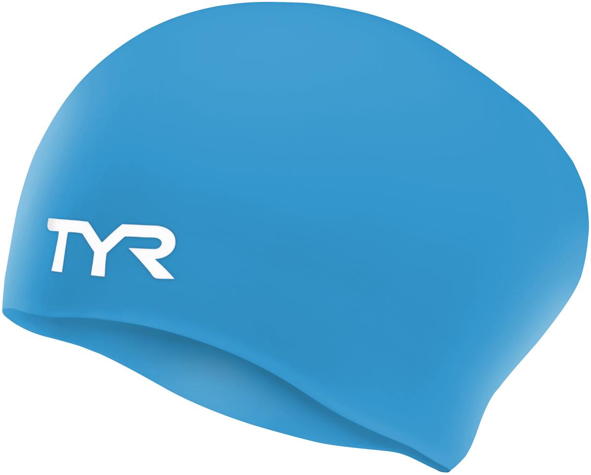 Шапочка для плавания TYR Long Hair Wrinkle-Free Silicone Cap, цвет: голубой. LCSLLCSLСиликоновая шапочка TYR Long Hair Wrinkle Free изготовлена из высококачественного материала, устойчивого к воздействию хлорированной воды, что гарантирует долгий срок службы. Материал шапочки не вызывает раздражения кожи и других аллергических реакций. Ассиметричный дизайн шапочки специально разработан для людей с длинными волосами (они не будут зажиматься или стягиваться, их можно аккуратно убрать назад). Прекрасный вариант для тренировок в бассейне.