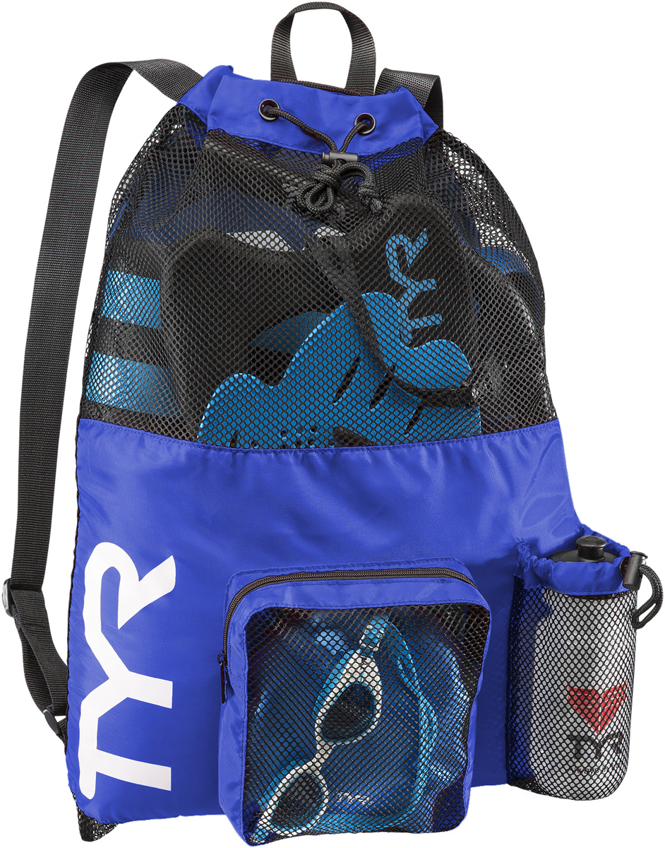 Рюкзак для аксессуаров Tyr Big Mesh Mummy Backpack, цвет: голубой. LBMMB3LBMMB3Рюкзак TYR является идеальным выбором для транспортировки влажной плавательной экипировки. Его очень комфортно носить на спине благодаря удобным лямкам и сетчатой проветриваемой поверхности. Мешок сделан из легкого и прочного материала, который обеспечивает долгий срок службы. Мешок имеет боковой карман на молнии и карман для бутылки. Благодаря устойчивости к влаге можно брать с собой как в бассейн, так и на пляж.