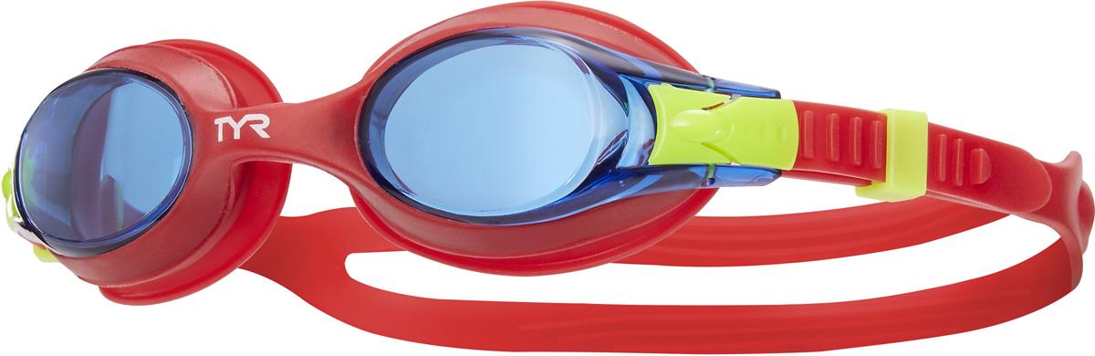 Очки для плавания Tyr Swimples, цвет: голубой, красный, красный. LGSWLGSWДетские очки для плавания TYR Swimples предназначены как для тренировок, так и для активного отдыха. Прочный, гипоаллргенный силиконовый уплотнитель способствует комфортной посадке очков для плавания. Специальные линзы из поликарбоната с защитой от разбития на мелкие осколки, покрыты антизапотевающим составом и защищены от ультрафиолетовых лучей. Двойной силиконовый ремешок удобен для использования детьми