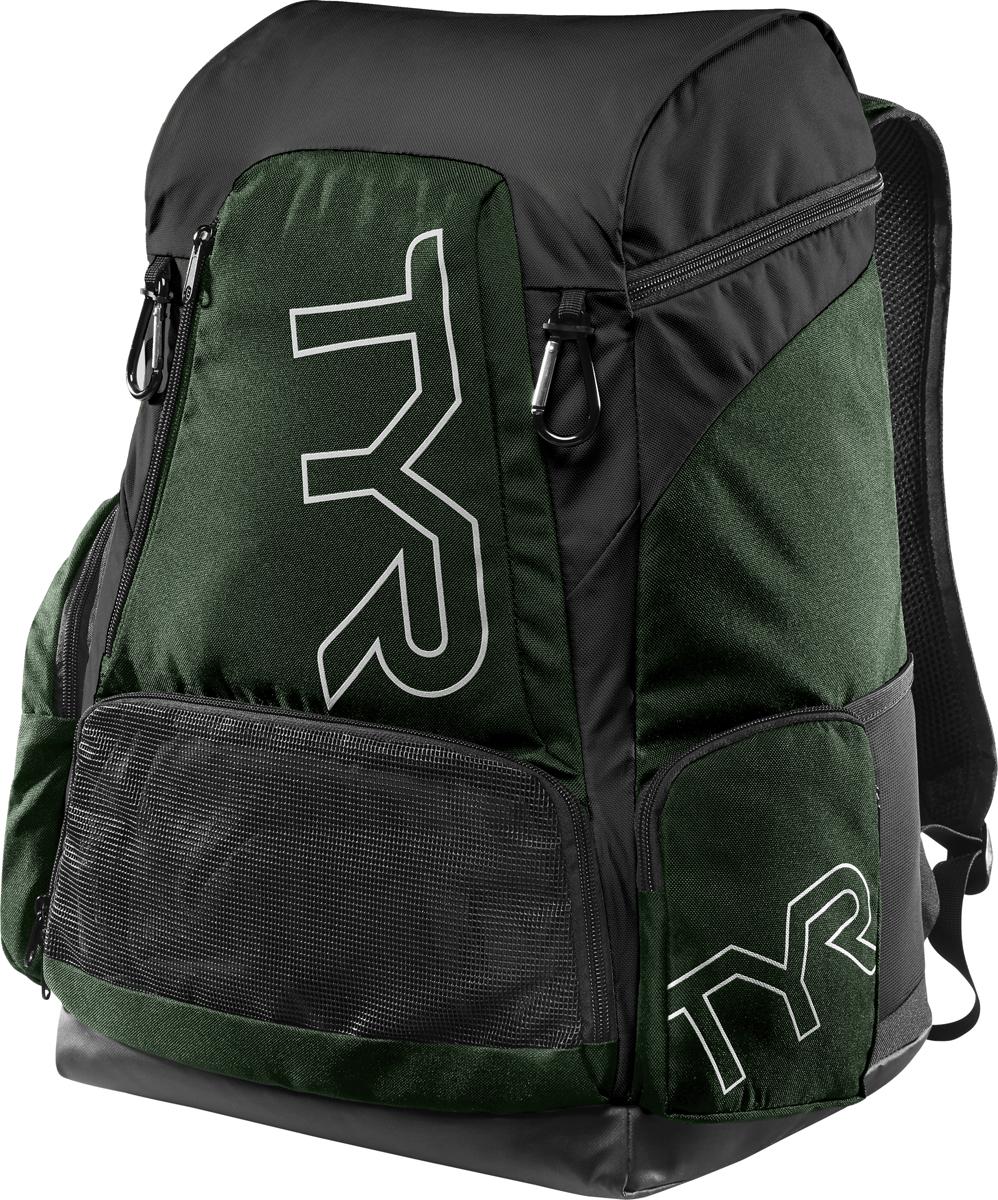 Рюкзак Tyr Alliance 45L Backpack, цвет: темно-зеленый, черный. LATBP45LATBP45Рюкзак TYR Alliance 45L Backpack – новая версия рюкзака Alliance Team Backpack 2 с более современным дизайном и увеличенным рабочим пространством. Рюкзак сконструирован для пловцов: есть отделение для влажных и сухих вещей, имеются передние и боковые карманы, защитное пространство для крупной электроники, регулируемые ремни, 2 карабина-крючка для подвешивания вещей или сеток.Рюкзак разработан с использованием технологичных тканей, чтобы обеспечить легкость, прочность и водостойкость.