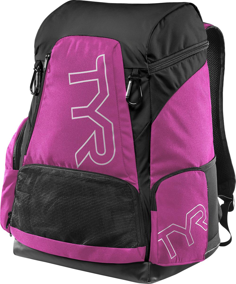 Рюкзак Tyr Alliance 45L Backpack, цвет: розовый, черный. LATBP45LATBP45Рюкзак TYR Alliance 45L Backpack – новая версия рюкзака Alliance Team Backpack 2 с более современным дизайном и увеличенным рабочим пространством. Рюкзак сконструирован для пловцов: есть отделение для влажных и сухих вещей, имеются передние и боковые карманы, защитное пространство для крупной электроники, регулируемые ремни, 2 карабина-крючка для подвешивания вещей или сеток.Рюкзак разработан с использованием технологичных тканей, чтобы обеспечить легкость, прочность и водостойкость.