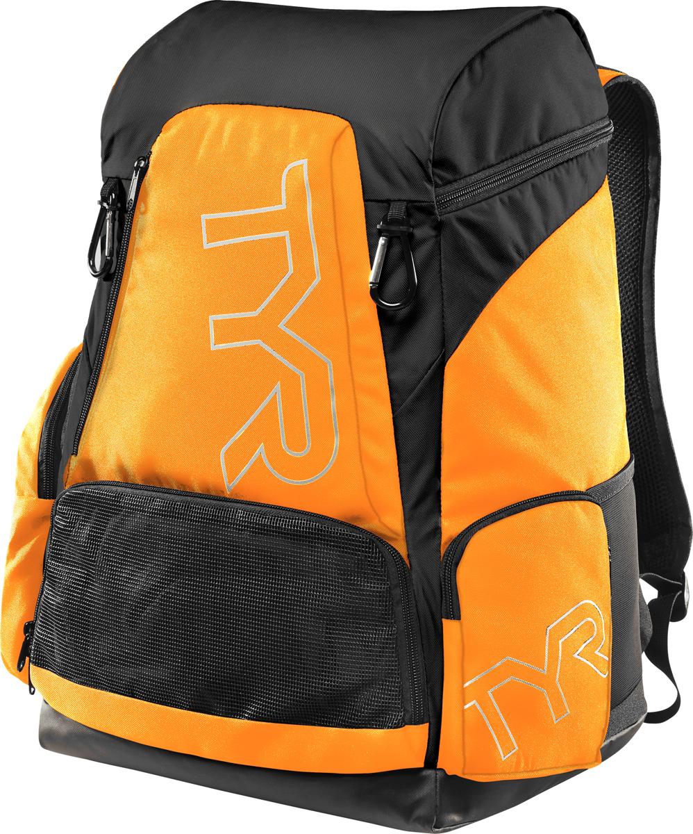 Рюкзак Tyr Alliance 45L Backpack, цвет: светло-оранжевый, черный. LATBP45LATBP45Рюкзак TYR Alliance 45L Backpack – новая версия рюкзака Alliance Team Backpack 2 с более современным дизайном и увеличенным рабочим пространством. Рюкзак сконструирован для пловцов: есть отделение для влажных и сухих вещей, имеются передние и боковые карманы, защитное пространство для крупной электроники, регулируемые ремни, 2 карабина-крючка для подвешивания вещей или сеток.Рюкзак разработан с использованием технологичных тканей, чтобы обеспечить легкость, прочность и водостойкость.