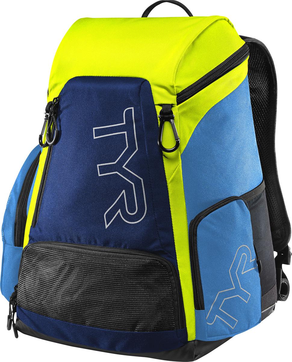 Рюкзак Tyr Alliance 30L Backpack, цвет: голубой, зеленый. LATBP30LATBP30Рюкзак TYR Alliance 30L Backpack – новая версия рюкзака Alliance Team Mini Backpack с более современным дизайном и увеличенным рабочим пространством. Рюкзак сконструирован для пловцов: есть отделение для влажных и сухих вещей, имеются передние и боковые карманы, защитное пространство для крупной электроники, регулируемые ремни, 2 карабина-крючка для подвешивания вещей или сеток.Рюкзак разработан с использованием технологичных тканей, чтобы обеспечить легкость, прочность и водостойкость.