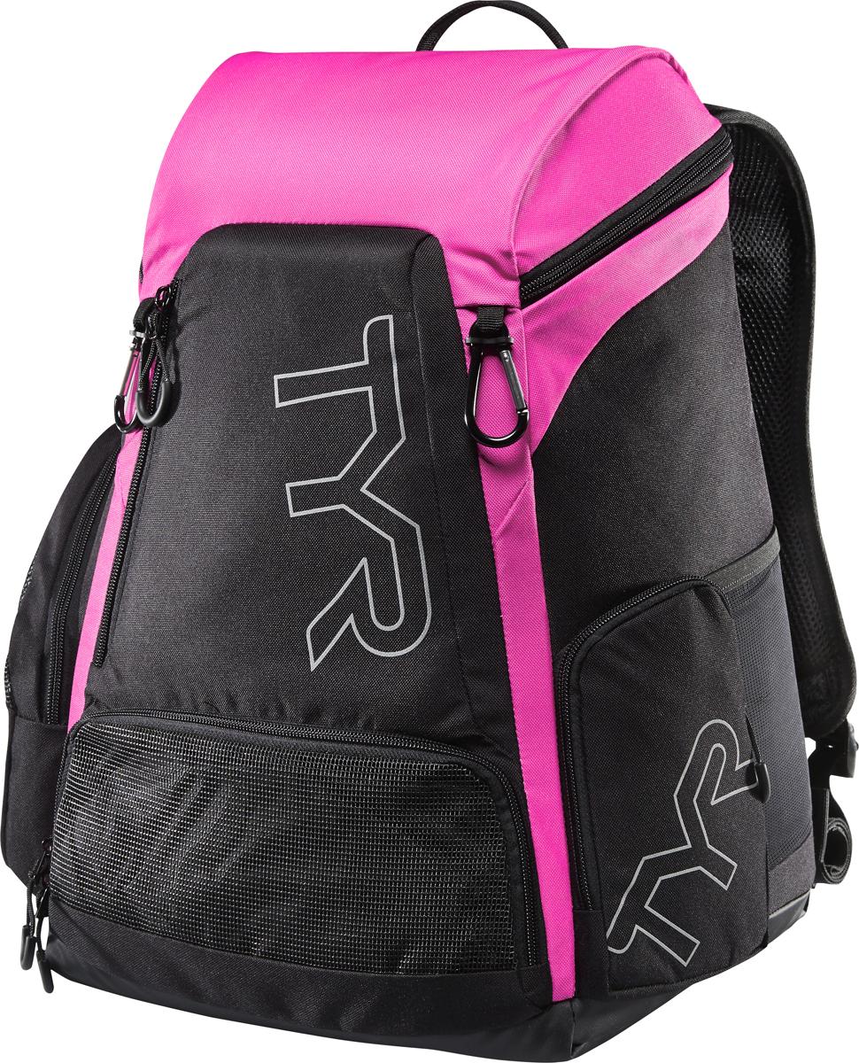 Рюкзак Tyr Alliance 30L Backpack, цвет: черный, розовый. LATBP30LATBP30Рюкзак TYR Alliance 30L Backpack – новая версия рюкзака Alliance Team Mini Backpack с более современным дизайном и увеличенным рабочим пространством. Рюкзак сконструирован для пловцов: есть отделение для влажных и сухих вещей, имеются передние и боковые карманы, защитное пространство для крупной электроники, регулируемые ремни, 2 карабина-крючка для подвешивания вещей или сеток.Рюкзак разработан с использованием технологичных тканей, чтобы обеспечить легкость, прочность и водостойкость.