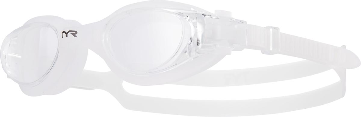 Очки для плавания Tyr Vesi, цвет: прозрачный, прозрачный, прозрачный. LGHYBLGHYBНовые очки TYR Vesi подходят для тренировок и отдыха. Легкая и обтекаемая конструкция очков обеспечивает удобную посадку, которая включает в себя силиконовый уплотнитель. Объединённая конструкция переносицы идеально подходит под разные типы строения лица. Линзы обладают широким спектром периферического зрения, защищают от ультрафиолетовых лучей и обработаны антифогом. Двойной силиконовый ремешок с быстрой и удобной регулировкой.
