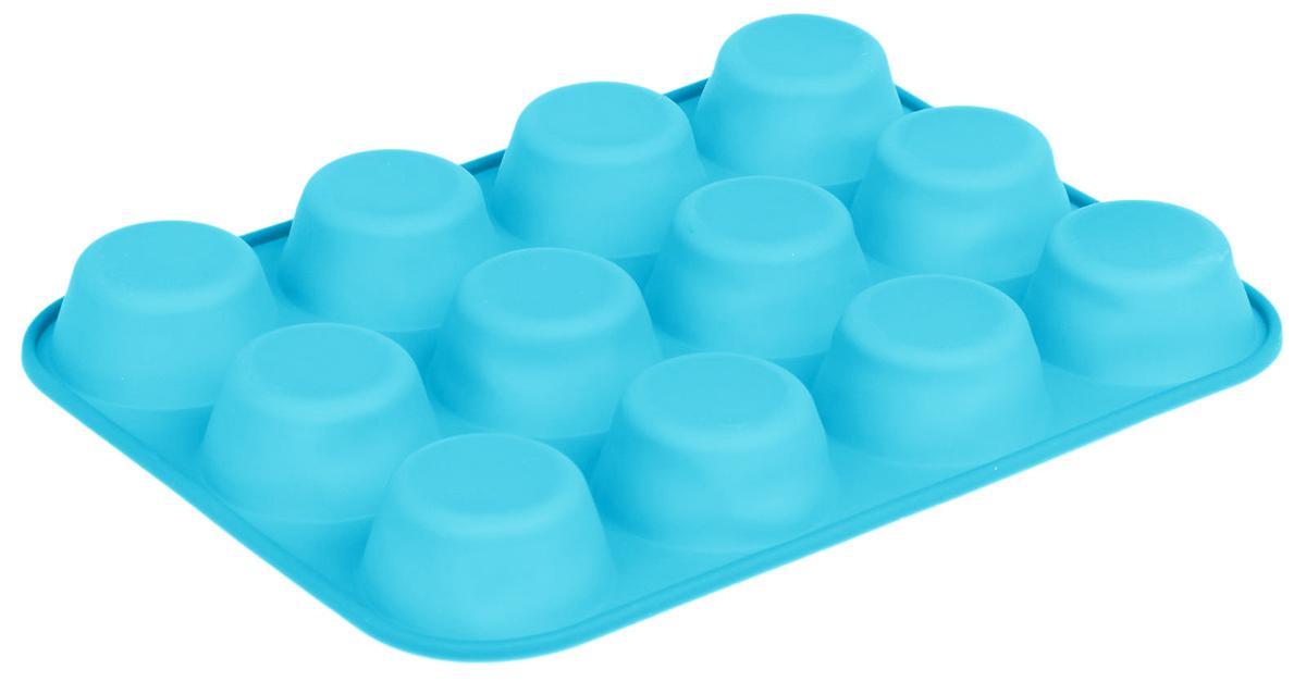 Форма для выпечки Доляна Классика, цвет: голубой, 25 х 19 х 3 см, 12 ячеек1166880_голубой