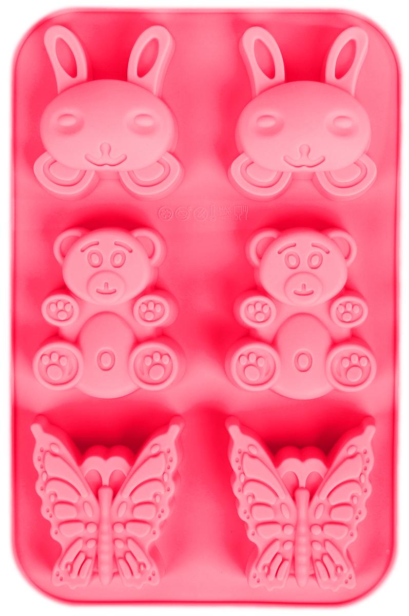 Форма для выпечки Доляна Заяц, мишка, бабочка, цвет: красный, 26 х 17 х 3 см, 6 ячеек1166897_красныйФорма Доляна Заяц, мишка, бабочка, изготовленная из силикона, выполнена в виде оригинальных фигурок.Силиконовые формы для выпечки имеют множество преимуществ по сравнению с традиционными металлическими формами и противнями. Нет необходимости смазывать форму маслом. Форма быстро нагревается, равномерно пропекает, не допускает подгорания выпечки с краев или снизу. Вынимать продукты из формы очень легко. Слегка выверните края формы или оттяните в сторону, и ваша выпечка легко выскользнет из формы. Материал устойчив к фруктовым кислотам, не ржавеет, на нем не образуются пятна. Форма может быть использована в духовках и микроволновых печах (выдерживает температуру от -40°С до +230°С), также ее можно помещать в морозильную камеру и холодильник. Можно мыть в посудомоечной машине.Размер ячеек: 6 х 7 х 3 см; 7 х 6,2 х 3 см; 6,5 х 6,2 х 3 см.