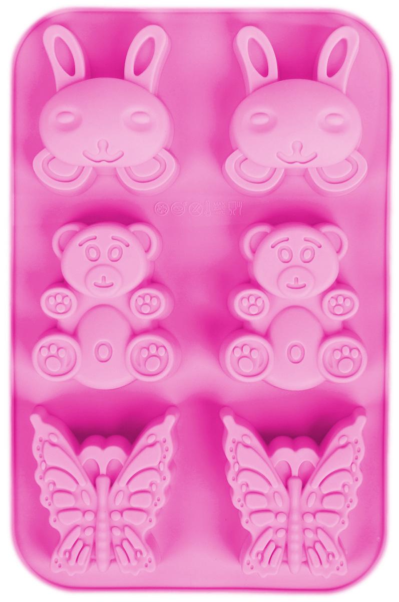Форма для выпечки Доляна Заяц, мишка, бабочка, цвет: сиреневый, 26 х 17 х 3 см, 6 ячеек1166897_сиреневыйФорма Доляна Заяц, мишка, бабочка, изготовленная из силикона, выполнена в виде оригинальных фигурок.Силиконовые формы для выпечки имеют множество преимуществ по сравнению с традиционными металлическими формами и противнями. Нет необходимости смазывать форму маслом. Форма быстро нагревается, равномерно пропекает, не допускает подгорания выпечки с краев или снизу. Вынимать продукты из формы очень легко. Слегка выверните края формы или оттяните в сторону, и ваша выпечка легко выскользнет из формы. Материал устойчив к фруктовым кислотам, не ржавеет, на нем не образуются пятна. Форма может быть использована в духовках и микроволновых печах (выдерживает температуру от -40°С до +230°С), также ее можно помещать в морозильную камеру и холодильник. Можно мыть в посудомоечной машине.Размер ячеек: 6 х 7 х 3 см; 7 х 6,2 х 3 см; 6,5 х 6,2 х 3 см.