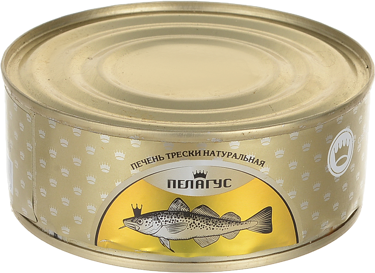 Пелагус печень трески натуральная №3, 230 г4627098460156Печень трески является источником рыбьего жира и вследствие этого имеет очень высокую степень жирности (более 60 %). Одновременно она в значительном количестве содержит ряд важных для организма человека веществ, в том числе витамин А, витамин D, витамин E, ненасыщенные жирные кислоты, фолиевую кислоту, белки, йод.