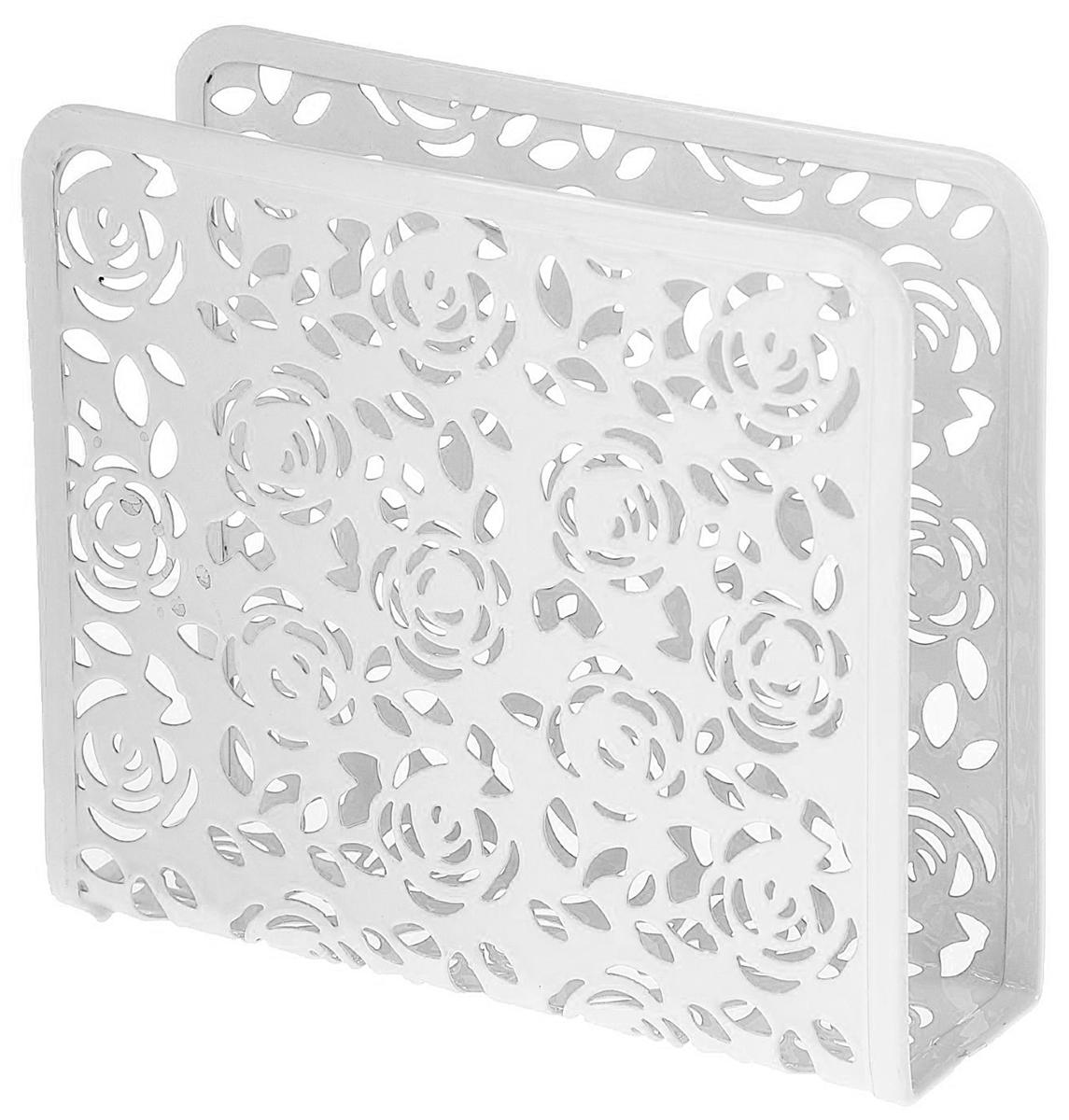 Салфетница Доляна Розы, цвет: белый, 15 х 5 х 13,5 см1476616_белыйСалфетница изготовлена из металла и оформлена принтом. Такая салфетница великолепно украсит праздничный стол.