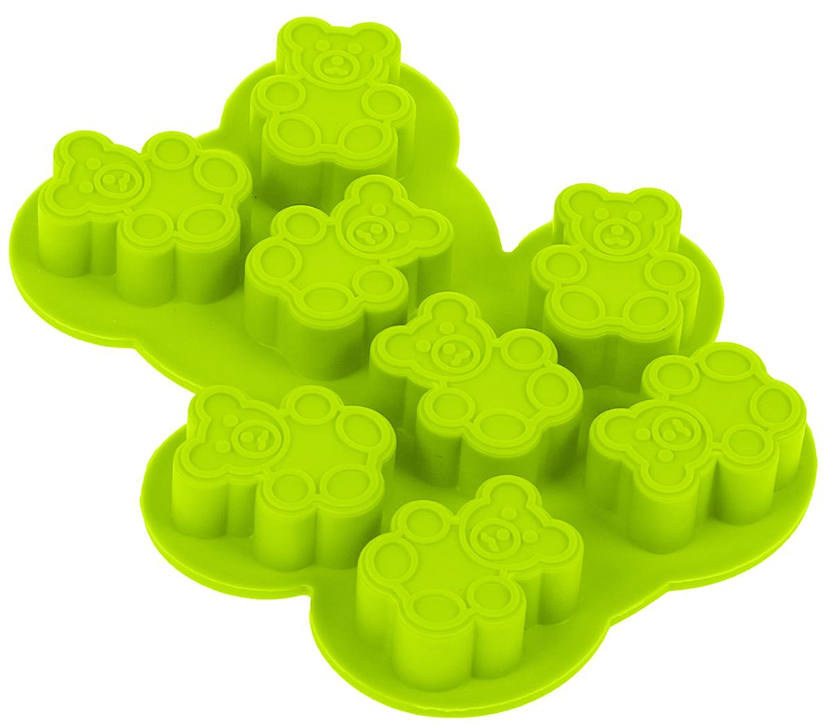 Форма для льда и шоколада Доляна Мишки, цвет: салатовый, 8 ячеек, 13 х 11 х 1,5 см1540896_салатовыйФигурная форма для льда и шоколада Доляна Мишки выполнена из пищевого силикона, который не впитывает запахов, отличается прочностью и долговечностью. Материал полностью безопасен для продуктов питания. Кроме того, силикон выдерживает температуру от -40°С до +250°С, что позволяет использовать форму в духовом шкафу и морозильной камере. Благодаря гибкости материала готовый продукт легко вынимается и не крошится.С помощью такой формы можно приготовить оригинальные конфеты и фигурный лед. Приготовить миниатюрные украшения гораздо проще, чем кажется. Наполните силиконовую емкость расплавленным шоколадом, мастикой или водой и поместите в морозильную камеру. Вскоре у вас будут оригинальные фигурки, которые сделают запоминающимся любой праздничный стол! В формах можно заморозить сок или приготовить мини-порции мороженого, желе, шоколада или другого десерта. Особенно эффектно выглядят льдинки с замороженными внутри ягодами или дольками фруктов. Заморозив настой из трав, можно использовать его в косметологических целях.Форма легко отмывается, в том числе в посудомоечной машине.