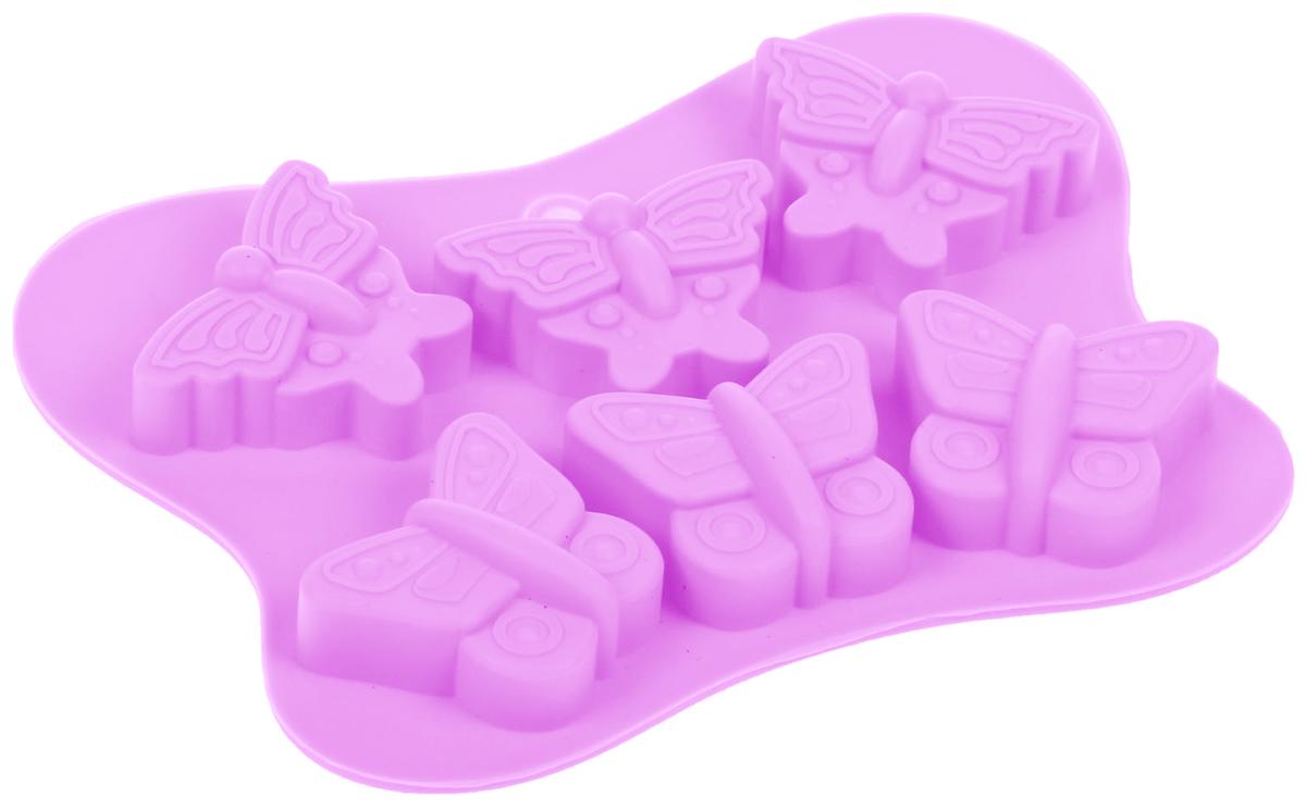 Форма для льда и шоколада Доляна Бабочки, цвет: сиреневый, 6 ячеек, 14 х 10,5 х 1,5 см1540898_сиреневыйФигурная форма для льда и шоколада Доляна Бабочки выполнена из пищевого силикона, который не впитывает запахов, отличается прочностью и долговечностью. Материал полностью безопасен для продуктов питания. Кроме того, силикон выдерживает температуру от -40°С до +250°С, что позволяет использовать форму в духовом шкафу и морозильной камере. Благодаря гибкости материала готовый продукт легко вынимается и не крошится. С помощью такой формы можно приготовить оригинальные конфеты и фигурный лед. Приготовить миниатюрные украшения гораздо проще, чем кажется. Наполните силиконовую емкость расплавленным шоколадом, мастикой или водой и поместите в морозильную камеру. Вскоре у вас будут оригинальные фигурки, которые сделают запоминающимся любой праздничный стол! В формах можно заморозить сок или приготовить мини-порции мороженого, желе, шоколада или другого десерта. Особенно эффектно выглядят льдинки с замороженными внутри ягодами или дольками фруктов. Заморозив настой из трав, можно использовать его в косметологических целях. Форма легко отмывается, в том числе в посудомоечной машине.